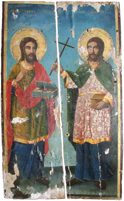 The miraculous icon of the holy healers Cosmas and Damian, written in 1870, which was once the iconostasis of the monastery church in Zochishche Monastery, Serbia, which is located in the village of the same name not far from Orahovac.